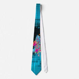 PixDezines Grunge+floral Gradient aqua blue Tie