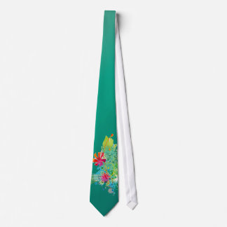 PixDezines Grunge+floral Gradient green jade Tie