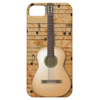 PixDezines Guitar+Vintage Sheet Music Barely There iPhone 5 Case