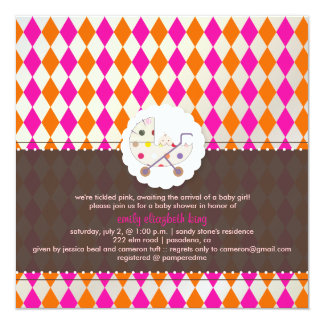 PixDezines harlequin/pink+orange/baby shower/DIY Card