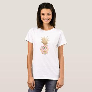 PixDezines Hawaii, Aloha Pink Pineapple/Faux Gold T-Shirt