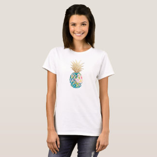 PixDezines Hawaii, Aloha Teal Pineapple/Faux Gold T-Shirt