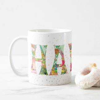 PixDezines Hawaii Pineapple Collage Watercolor Coffee Mug
