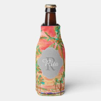PixDezines Hawaii/Vintage/Beach/Coral/Teal Bottle Cooler