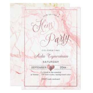 PixDezines Hens Party Faux Rose Gold Script+Marble Card