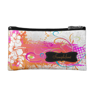 PixDezines hibiscus/diy background color Makeup Bags