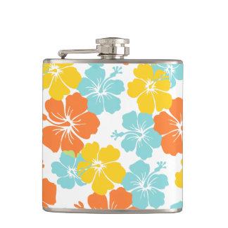 PixDezines hibiscus/DIY background color Hip Flasks