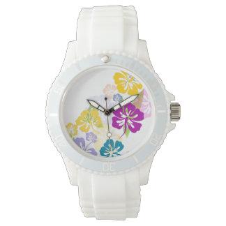 PixDezines hibiscus/diy background Wristwatches