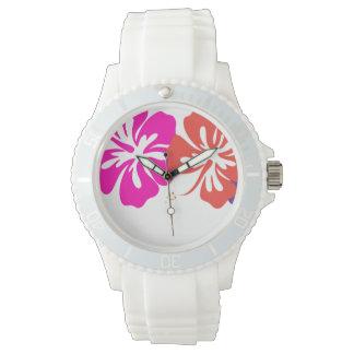PixDezines hibiscus lei/diy background Wrist Watches
