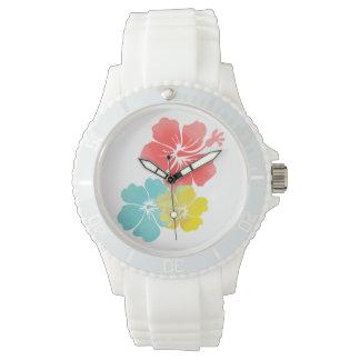 PixDezines hibiscus lei/diy background Wristwatch