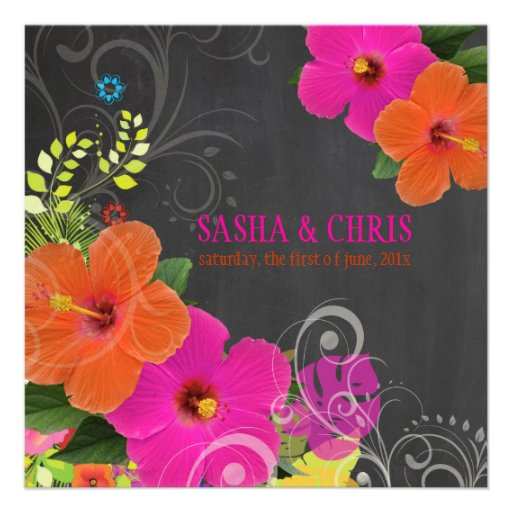 PixDezines hot pink+orange hibiscus+monstera Personalized Invite