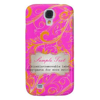 PixDezines Hot Pink+Orange Swirls, Monogram Galaxy S4 Cover