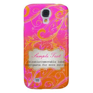 PixDezines Hot Pink+Orange Swirls, Monogram Galaxy S4 Covers