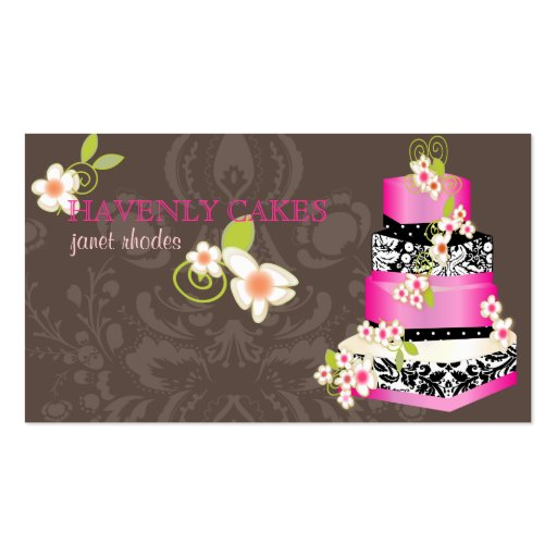 PixDezines hot pink wedding cake/bakery/pâtisserie Business Cards