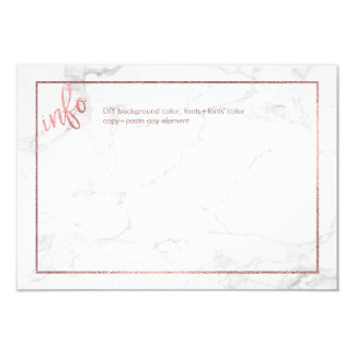 PixDezines INFO CARDS/MARBLE+FAUX ROSE GOLD Card
