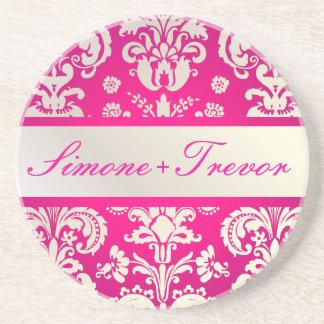 PixDezines Isabella Damask, Monogram Wedding Beverage Coaster