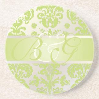 PixDezines Isabella Damask, Monogram Wedding Drink Coaster