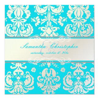 PixDezines Isabella Damask, Pearl+Aqua/DIY color 13 Cm X 13 Cm Square Invitation Card