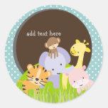 PixDezines Jungle Theme/DIY background colour Round Stickers