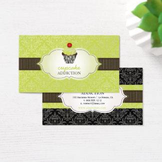 PixDezines keylime swirls cupcake/pinstripes/DIY Business Card