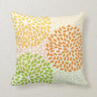 PixDezines kiku lime+orange/chrysanthemum Cushion