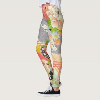 PixDezines Kimono/Peonies/Cherry Blossoms Leggings