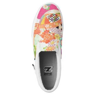 PixDezines Kimono/Peonies/Cherry Blossoms Printed Shoes