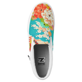 PixDezines Kimono/Peonies/Cherry Blossoms Slip-On Shoes