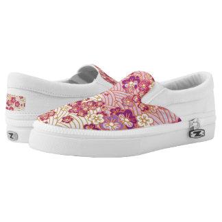 PixDezines Kimono/Pink Sakura/Waves Printed Shoes