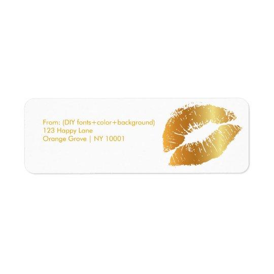 PixDezines kiss/lips/gold tone Return Address Label