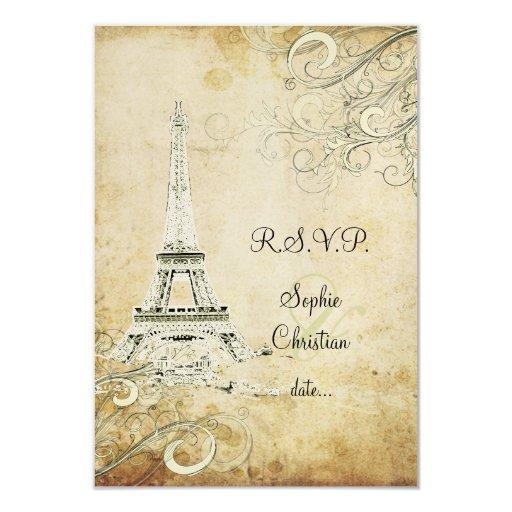 PixDezines la tour eiffel/paris 9 Cm X 13 Cm Invitation Card