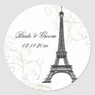 PixDezines La Tour Eiffel+Swirls/DIY color Round Sticker