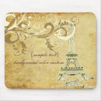 PixDezines La Tour Eiffel+Swirls, Faux Parchment Mouse Pad