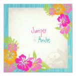 PixDezines leis/hibiscus, beach/diy colour 13cm X 13cm Square Invitation Card