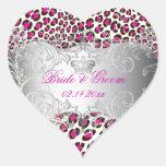 PixDezines Leopard+pearl swirls/magenta Heart Stickers