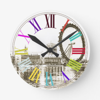 PixDezines london eye/DIY background color Round Clock