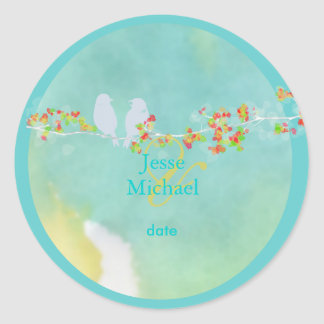 PixDezines Love Birds Classic Round Sticker