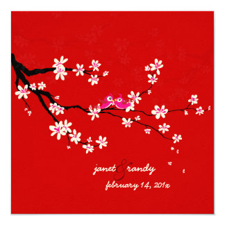 PixDezines Love birds/red cherry/sakura blossoms Card