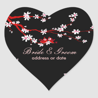 PixDezines Love birds/red cherry/sakura blossoms Heart Sticker
