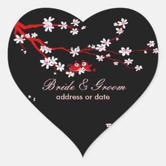 PixDezines Love birds/red cherry/sakura blossoms Heart Sticker