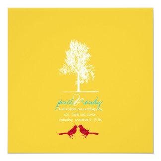 PixDezines Love Birds, Red, Oak Tree/DIY color! 13 Cm X 13 Cm Square Invitation Card