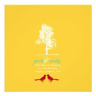 PixDezines Love Birds Red Oak Tree DIY color Personalized Invitation