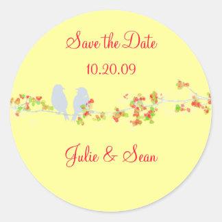 PixDezines love birds/save date/DIY background Round Sticker