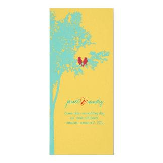 "PixDezines Love Birds, Teal Ash Tree/DIY color! 4"" X 9.25"" Invitation Card"