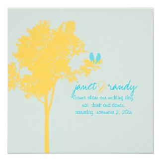 PixDezines Love Birds, Yellow Ash Tree/DIY color! 13 Cm X 13 Cm Square Invitation Card