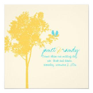 "PixDezines Love Birds, Yellow Ash Tree/DIY color! 5.25"" Square Invitation Card"
