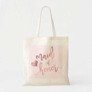 PixDezines Maid of../Faux Rose Gold Script Tote Bag