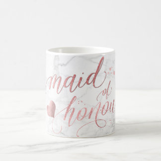 PixDezines Maid of Honour/Faux Rose Gold Script Coffee Mug