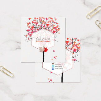 PixDezines Maple Tree/Pink+Red Square Business Card
