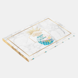 PixDezines Marble+Aloha Pineapples Guest Book